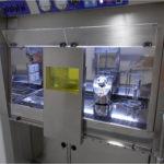 Laminar air flow fume hood for radiochemistry