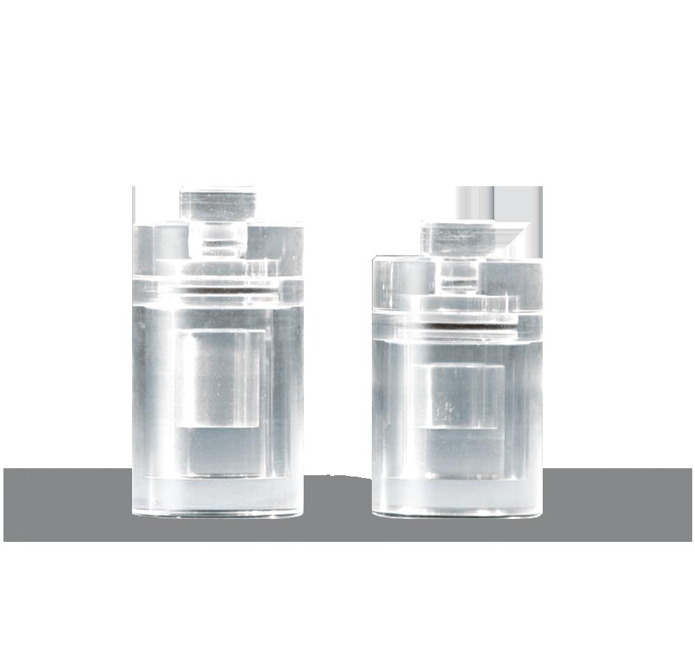 PVC-0 Perspex vial container
